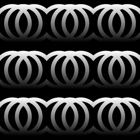 interlocking: Interlocking circles, rings. Abstract monochrome pattern. Repeatable. Illustration