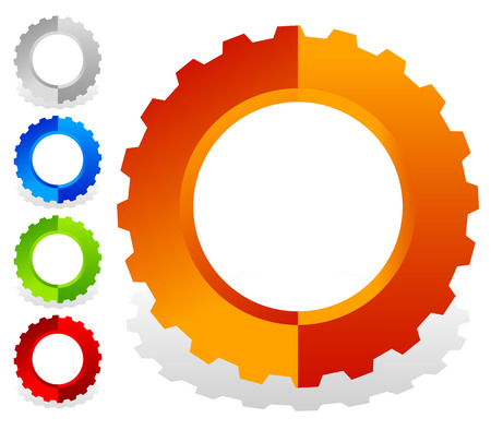 rackwheel: Colorful gearwheel, cogwheel, gear shapes for mechanics, industry or production, development concepts. Illustration