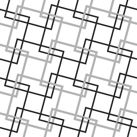 intersecting: Geometric, minimalist pattern with intersecting squares. Monochrome, grayscale vector texture.