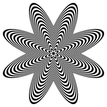 anomalous: Abstract monochrome element with lined filling. Radial, radiating shape.