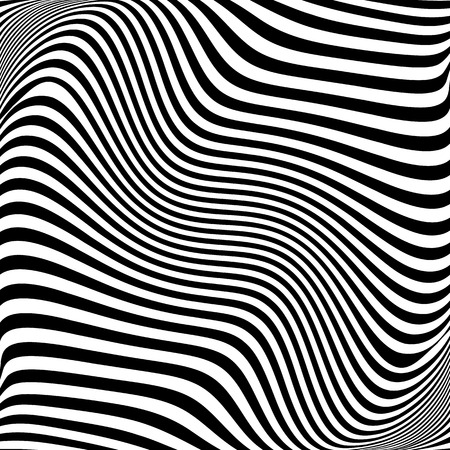 deformation: Abstract lines with distortion, deformation effect. Asymmetric monochrome pattern. Illustration