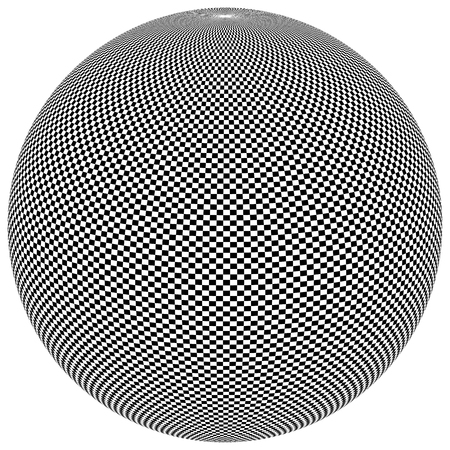 globular: Ball, orb with checkered surface on white. Abstract surrealistic, surreal graphic element. Vector Illustration