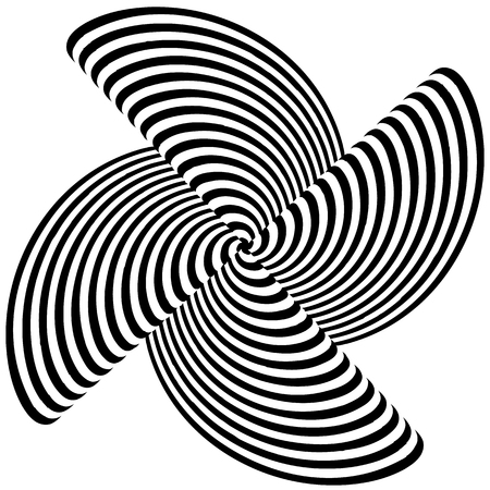 centric: Abstract monochrome element with lined filling. Radial, radiating shape.
