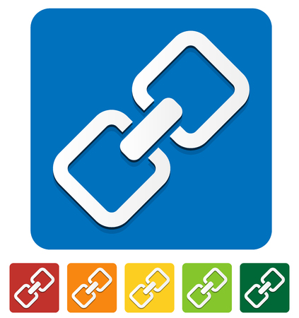 conjoined: Chain, chain link icon in several colors. Illustration