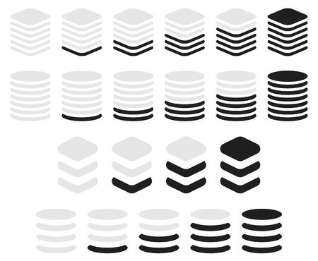 progression: Vertical progress, level indicator symbols in sequence.