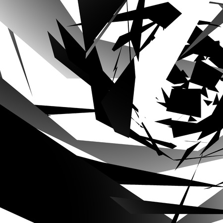 shatter: Abstract edgy, angled shapes texture. Monochrome futuristic background.