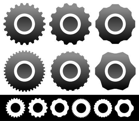 gearwheel: Set of different gear, gearwheel, cogwheel shapes, symbols, icons isolated on white. Vector illustration.