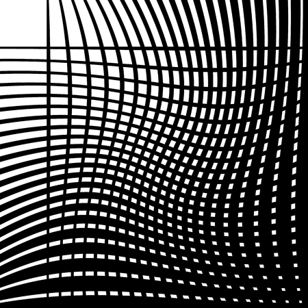 torsion: Intersecting lines with torsion, warp. editable vector. Illustration