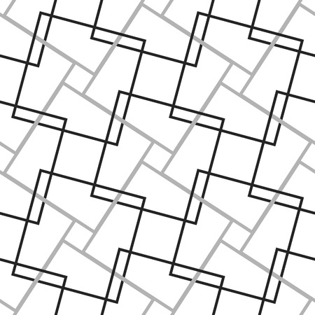grating: Geometric, minimalist pattern with intersecting squares. Monochrome, grayscale vector texture.
