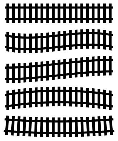 railroad track: 3d railway, railroad track silhouettes. (Straight version repeatable.)