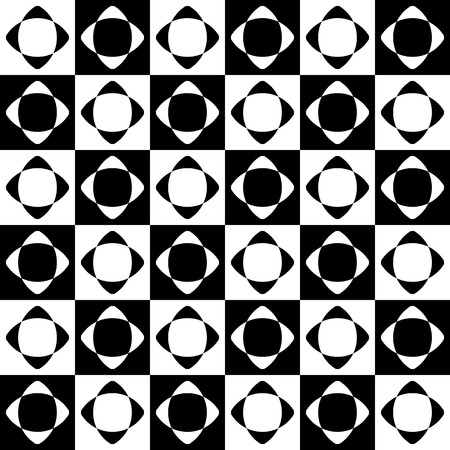 astract: Abstract seamlessly repeatable pattern with checkered tiles. Monochrome, simple minimal geometric background. Vector Illustration