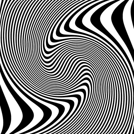 anomalous: Abstract lines with distortion, deformation effect. Asymmetric monochrome pattern. Illustration