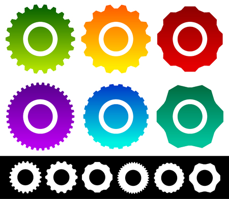 rackwheel: Set of different gear, gearwheel, cogwheel shapes, symbols, icons isolated on white. Vector illustration.