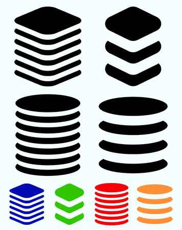 Tower symbols. Stacked cylindrical, squarish barrel shapes.