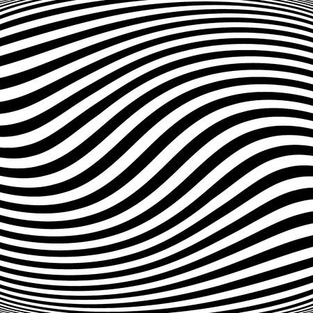 Linee astratte con una distorsione, effetto di deformazione. modello in bianco e nero asimmetrico.