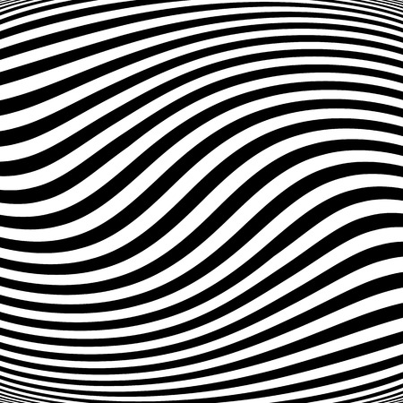 Abstract lines with distortion, deformation effect. Asymmetric monochrome pattern. Illustration