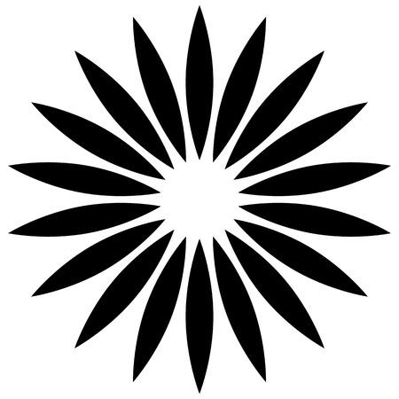 centric: Abstract, symmetric flower silhouette, flower shape, flower motif.