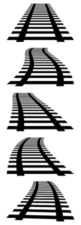 vanishing: 3d, vanishing railway tracks. Railroads in perspective.