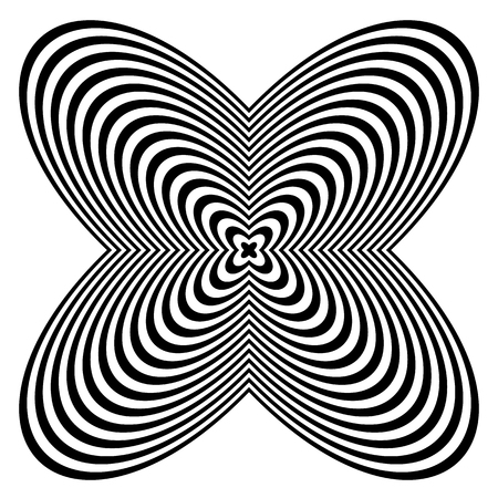 amorphous: Abstract monochrome element with lined filling. Radial, radiating shape.