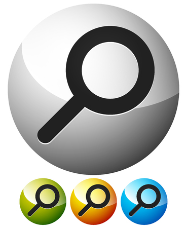 seek: Magnifier  Magnifying glass symbol, icon. Search, seek, zoom, enlarge subjects. Illustration