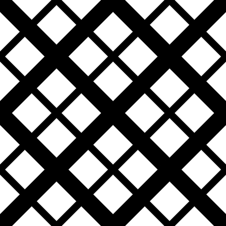grillage: Geometric, minimalist pattern with intersecting squares. Monochrome, grayscale vector texture.