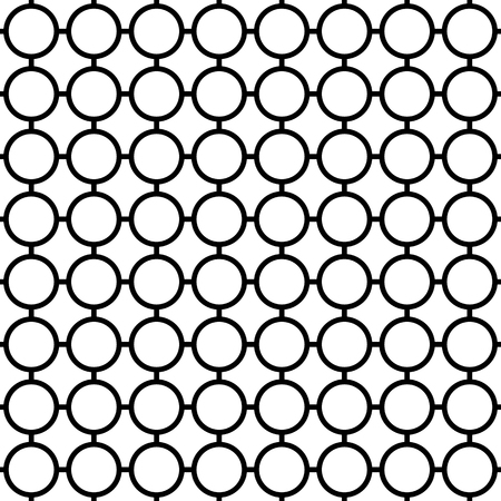 grillage: Cellular seamless pattern with connected circles. Reticulated grid, mesh of circles, monochrome vector background Illustration