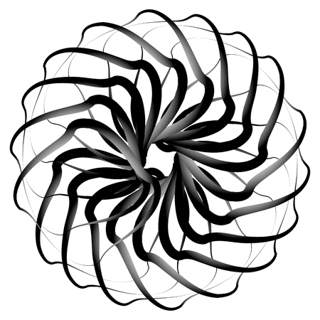 eddy: Spirograph pattern like rotating spiral, vortex shape. Abstract monochrome element.