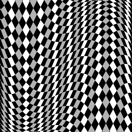 distortion: Grayscale, monochrome squared pattern with distortion effect.