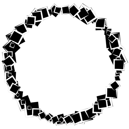 blocky: Abstract circular element with scattered overlapping squares. Monochrome vector shape. Illustration
