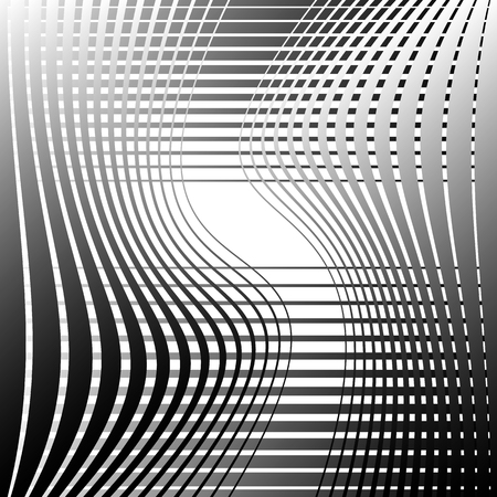 twisting: Abstract monochrome background with twisting intersecting lines. Vector art.