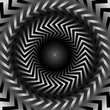 eyestrain: Abstract monochrome graphics with radiating, zigzag lines. Illustration