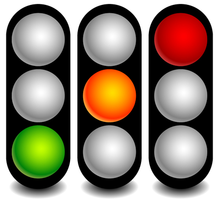 backlog: Vector traffic lights, lamps, semaphores in sequence on white.