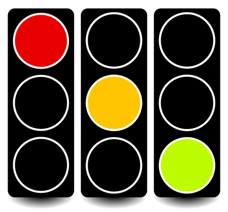 trafficlight: Vector traffic lights, lamps, semaphores in sequence on white.