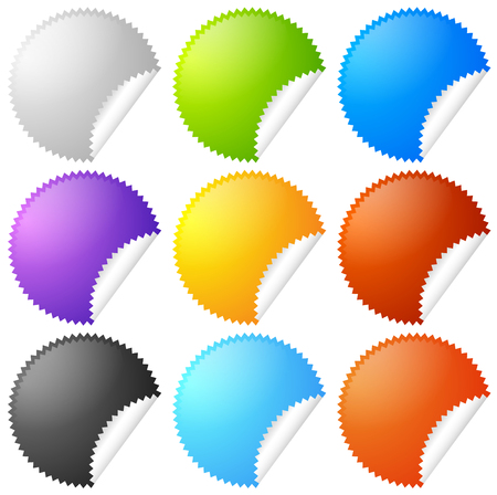 peel off: Colorful starburst, badge sticker shapes with blank space.