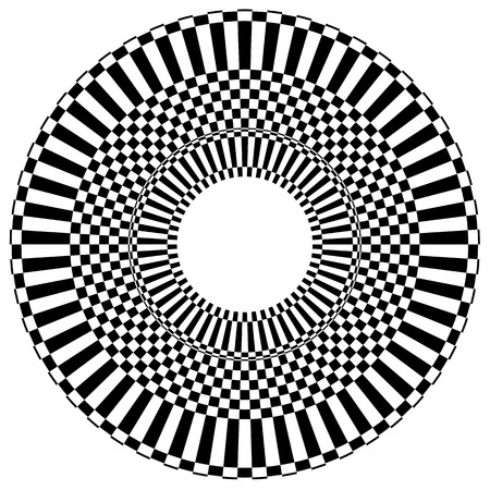 centric: Abstract radial, circular element with checkered surface.