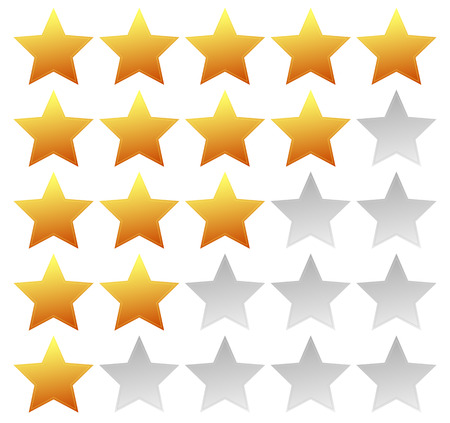 good judgment: Star rating template with 5 stars. Quality, product, service review, user experience concepts.