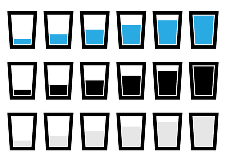 half full: Water glass symbols, pictograms - Empty, half, full glass of water.
