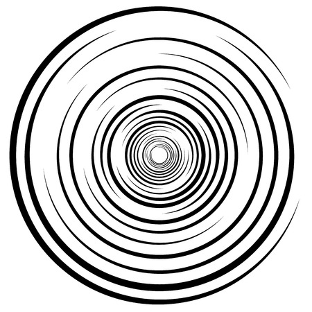rotating: Abstract swirl, twirl, spiral element, rotating shape. Black and white vector