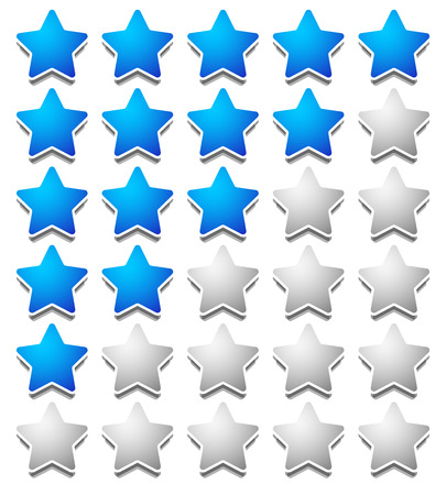 star rating: Star rating template from initial zero to 5 stars.