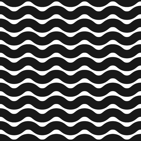 billow: Horizontal zigzag or wavy lines monochrome pattern. Repeatable. Illustration