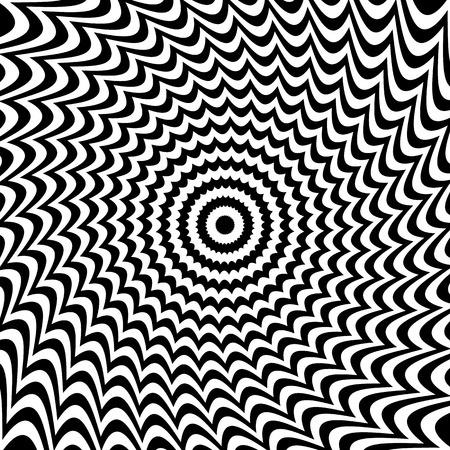 distortion: Alternating black and white lines with circular, spiral distortion. Abstract monochrome background. Editable vector.