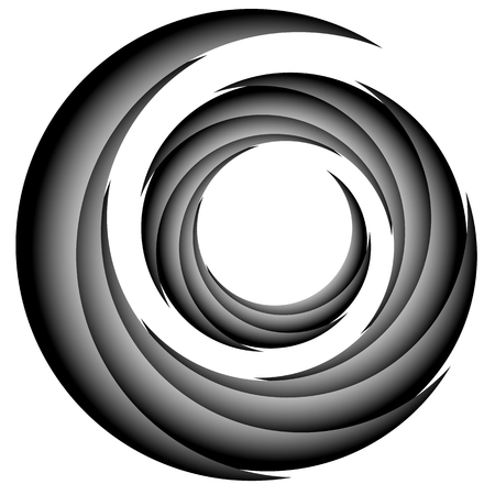 eddy: Abstract spiral, twirl element, volute shape. Vector.