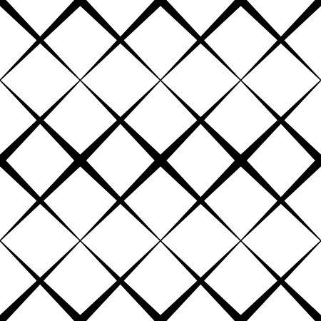 Seamless monochrome pattern with X shape, intersecting, crossing lines. Repeatable abstract background Ilustração