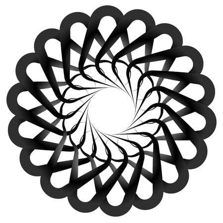 Résumé en spirale, forme de Twirly isolée sur blanc. Élément de vecteur monochrome.