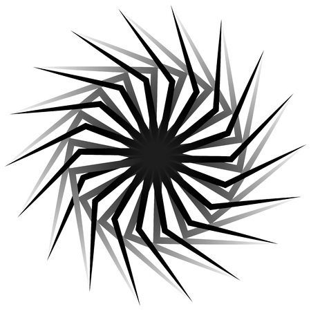 gyration: Abstract spirally, twirly shape isolated on white. Monochrome vector element. Illustration