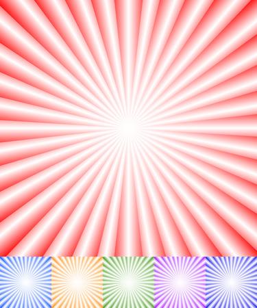 converging: Colorful starburst (sunburst) background set. Converging, radiating lines patterns.