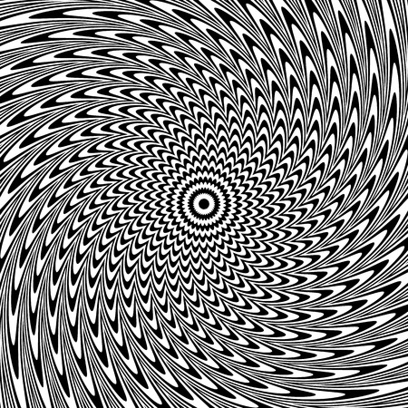 anomalous: Alternating black and white lines with circular, spiral distortion. Abstract monochrome background. Editable vector.