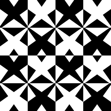 grillage: Seamless monochrome pattern with X shape, intersecting, crossing lines. Repeatable abstract background Illustration