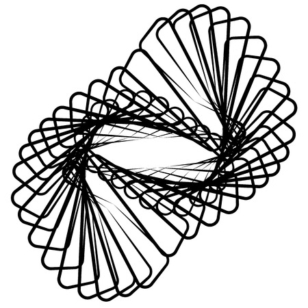 spirograph: Monochrome spirograph element with intersecting lines. Abstract vector shape. Illustration
