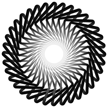 centric: Abstract spirally, twirly shape isolated on white. Monochrome vector element. Illustration